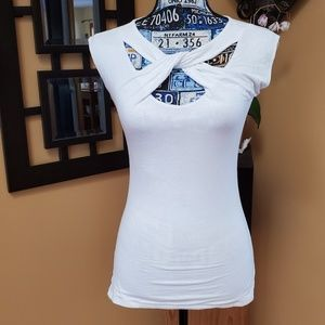 INC WHITE TWISTED KNOT CUTOUT FITTED TANK TOP
